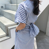 Korean Women Summer Cotton Blue Striped Bandage Split Long Dress Female Long Bodycon Plus Size Vestido Robe Femme Ete Sukienki - 88digital