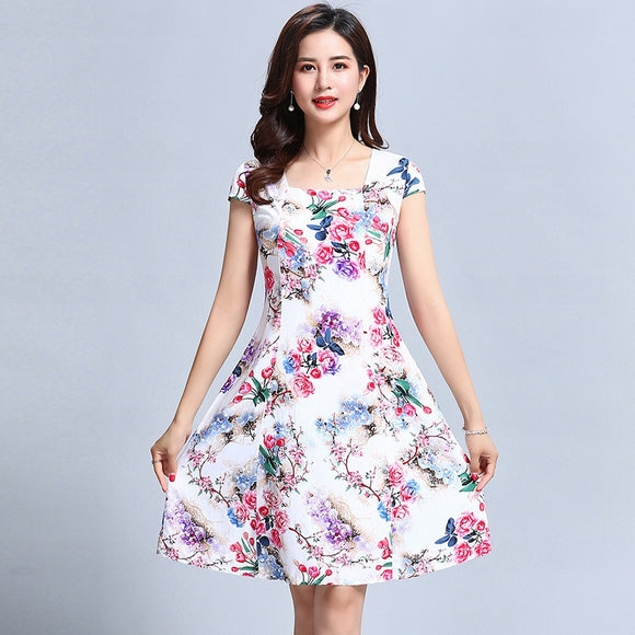 L-5XL 2018 Women's clothes Floral Print Vintage Dress Plus Size Short sleeve square Neck Casual Style Dresses Vestidos De Festa - 88digital