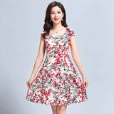 L-5XL 2019 Women clothes Dress Silk Short sleeve sundress square collar Casual Plus Size floral print dresses Vestidos De Festa - 88digital
