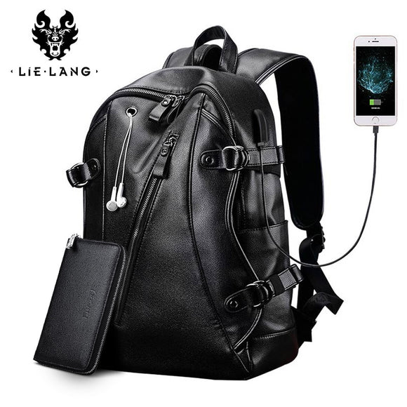 Men Backpack External USB Charge Waterproof  Backpack Fashion PU Leather Travel Bag Casual School Bag leather - 88digital