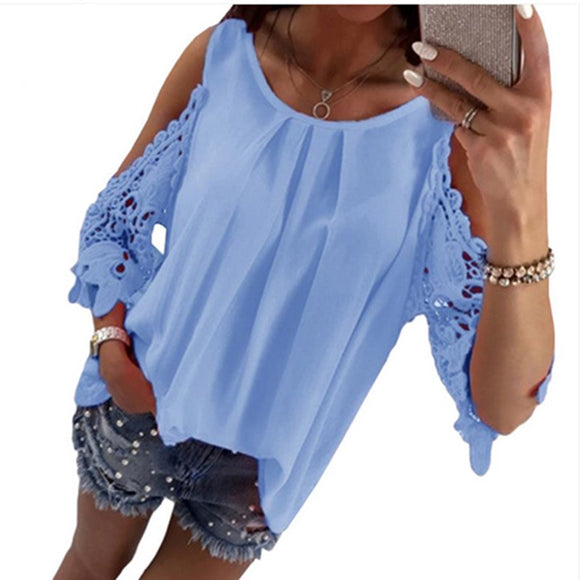 LOSSKY Womens Tops And Blouse Shirt 2018 Summer Top Casual Hollow Out Sleeve Off Shoulder Shirt Ladies Blouse Boho Tunic Tops - 88digital
