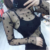 Lady Sexy Mesh Blouse Women Tops Long Sleeve Stand Collar Female Casual Polka Dot Star Shirt Transparent Elegant Tees Hollow Out - 88digital