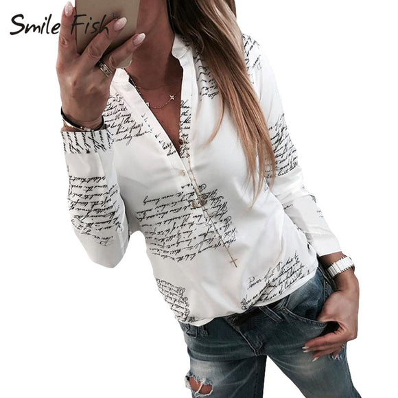 Letters Printed Buttons V-neck Tops Autumn Women Fashion Lady White Blouse 3XL Long Sleeve Shirts Spring Blusas Plus Size M0303 - 88digital