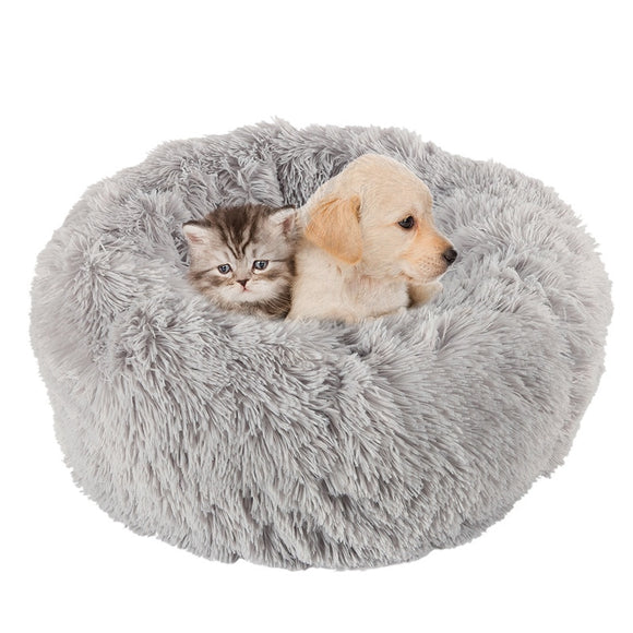 Long Plush Soft Pet Dog Bed Gray Round Cat Winter Warm Sleeping Beds Bag Puppy Dog Cats Cushion Mat Portable Pets Supplies USA - 88digital