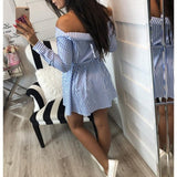 Lossky 2019 Casual Women Shirts Dress Elegant Buttons Off Shoulder Striped Dresses Sexy Sashes Bow Ties Summer Dress Vestidos - 88digital