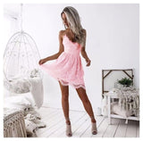 Lossky Summer Party Dress Sexy White Pink Deep V Neck Backless Lace Short Dress Women Casual Bandage Spaghetti Strap Midi Dress - 88digital