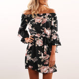 Lossky Women Floral Print Dress Sexy Off Shoulder Sashes Mini Boho Beach Dresses Flare Sleeve XS 3XL Plus Large Size Short Dress - 88digital