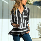 Lossky Women Tops Blouses 2018 Autumn Elegant Long Sleeve Solid V-Neck Chiffon Blouse Female Work Wear Shirts Blouse Plus Size - 88digital