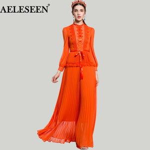 Luxury XXL Women Vestido Dresses 2018 Spring Runway Fashion Lace Ruffles Bow Patchwork Lantern Long Sleeve Pleated Maxi Dress - 88digital