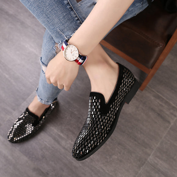 Full Shining PVC Bricks Decoration Mens Formal Dress Shoes Soft Sole Slip-on Loafers Big Size Party Casual Shoes - 88digital