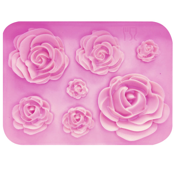 M1023 Rose Flowers silicone mold Cake Chocolate Mold wedding Cake Decorating Tools Fondant Sugarcraft Cake Mold - 88digital