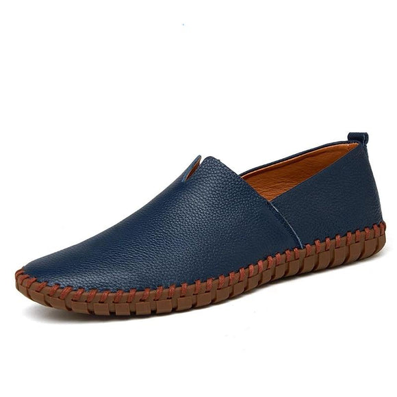 Genuine Cow leather Mens Loafers Fashion Handmade Moccasins Soft Leather Blue Slip On Men's Boat Shoe PLUS SIZE 38~48 - 88digital
