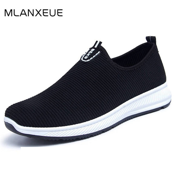 Fashion Breathable Mesh Men Shoes Non-slip Rubber Sole Man Shoes Summer Autumn Plus Size 39-44 Male Black Shoes - 88digital