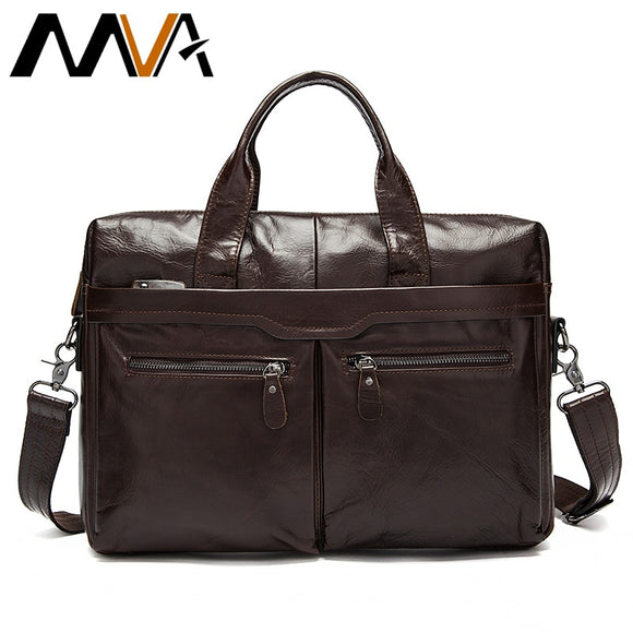 Leather men's Briefcase men laptop male messenger bag Men's Genuine leather shoulder bags briefcases for documents bag - 88digital
