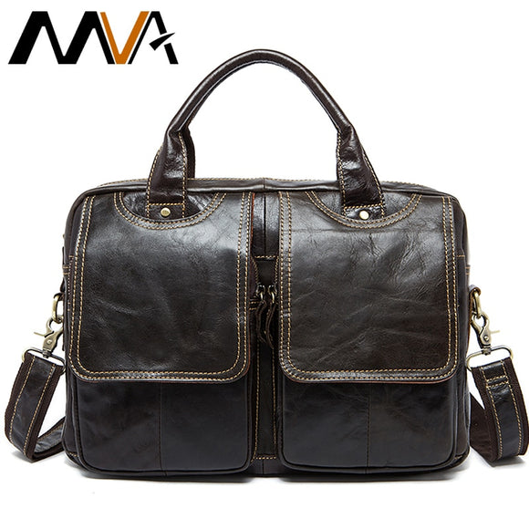 Men's Briefcase bag men's Genuine Leather bags male man 14inch business Laptop bag for men briefcases leather bags - 88digital