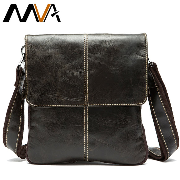 MVA Messenger Bag Men's Genuine Leather shoulder bag for men leather man fashion Small Flap male Crossbody Bags handbags 8006 - 88digital