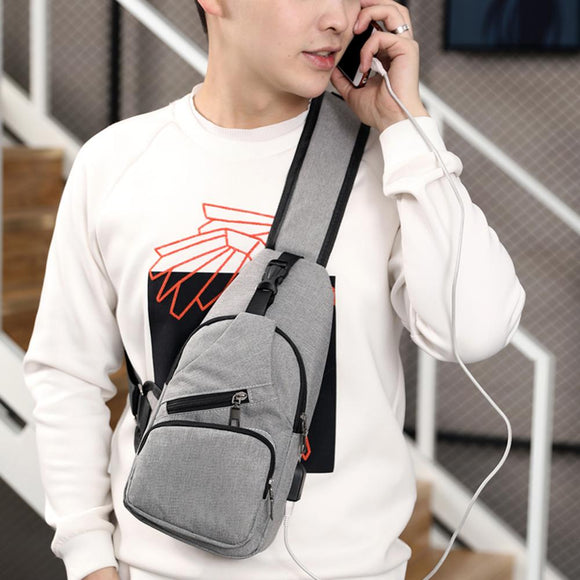 Male Leisure Sling Chest Pack Crossbody Bags for Men Messenger Canvas USB Charging Leather Men's Bags Handbag Shoulder Bags - 88digital