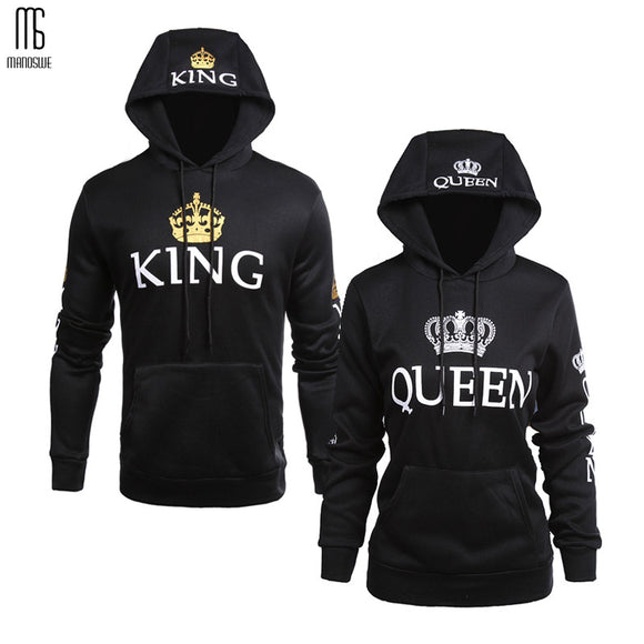 Manoswe Men Fall Winter Clothing Women Casual Wear Couple Sweatshirts Lettered Pattern QUEEN KING Print Long Sleeves Hoodie Tops - 88digital