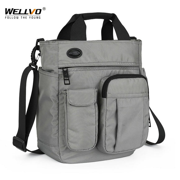 Men Multifunctional Shoulder Messenger Bag with Headphone Hole Waterproof Nylon Travel Handbag Large Capacity Storage Bags - 88digital