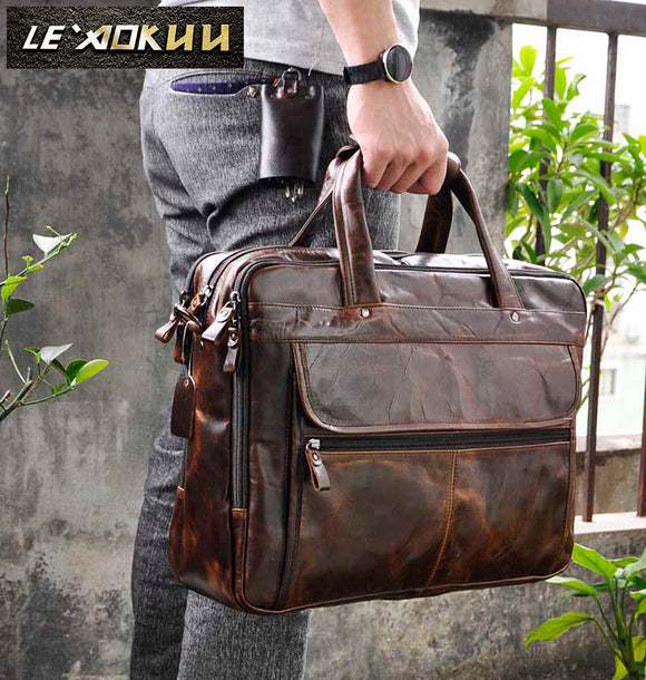 Men Oil Waxy Leather Antique Design Business Briefcase Laptop Document Case Fashion Attache Messenger Bag Tote - 88digital