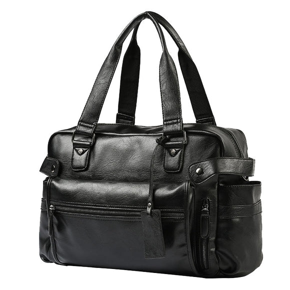 Men'S Briefcase Messenger Shoulder Bags Large Capacity Handbag Business High Quality Leather Computer Bags Laptop Multifunction - 88digital