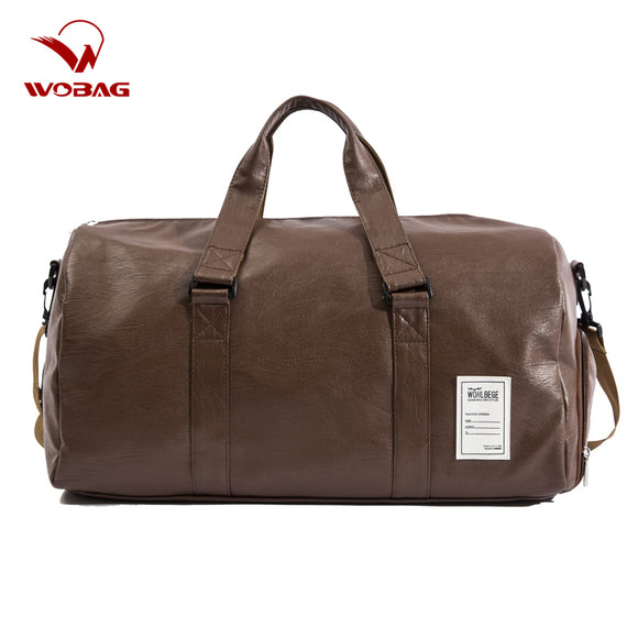 Men Travel Bag Large Duffle Independent Shoes Storage Big Fitness PU Leather Women Handbag Bags Luggage Shoulder Bag - 88digital