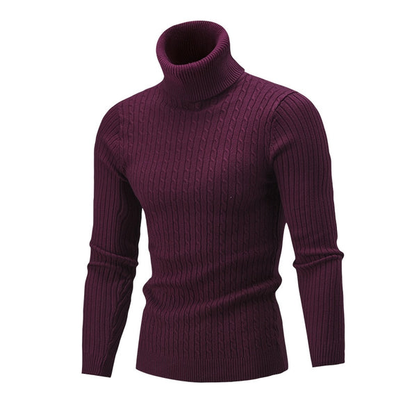 Men's Turtleneck Sweater Autumn Winter Solid Color Sweater Casual Sweater Slim Fit Brand Simple Knitted Twist Pullovers - 88digital