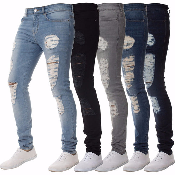 Mens Casual Skinny Jeans Pants Men Solid black ripped jeans men Ripped Beggar Jeans With Knee Hole For Youth Men - 88digital