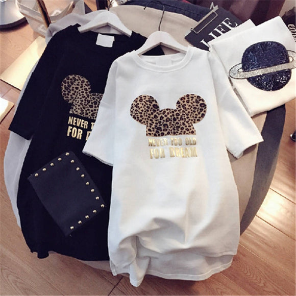 Minnie Mickey Mouse Women Cartoon Plus Size Dresses Short Sleeve Black White Casual Mini Fashion Loose Summer Dress Leopard 2019 - 88digital