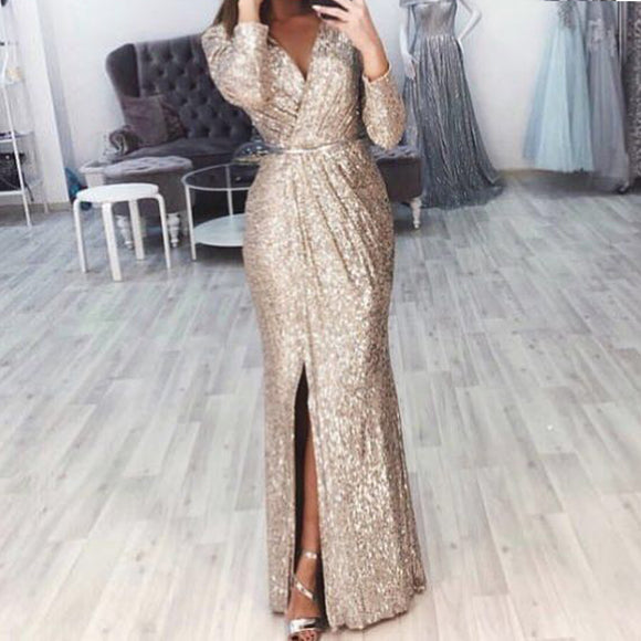 Missord 2019 Sexy V Neck Long Sleeve Glitter High Split Dresses Female Elegant Party Clubwear Maxi Elegant Dress VestdiosFT18776 - 88digital