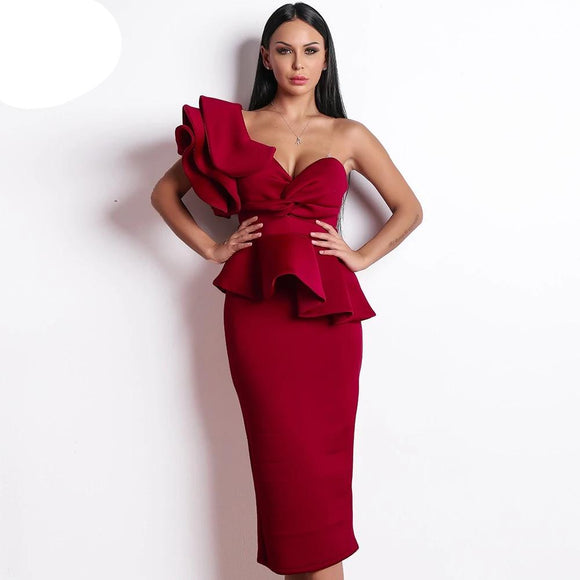 Missord 2019 Women Sexy Bodycon Off Shoulder Bandage Dresses Female Ruffles Backless Elegant Club Dress Vestido TB0020 - 88digital