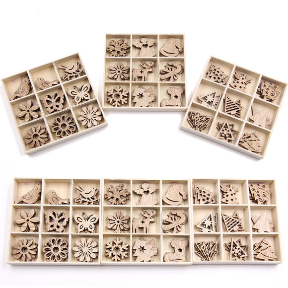 Mix Styles Mini Wood Chips DIY Wood Crafts Christmas Ornaments DIY Scrapbooking Supplies Christmas Party Decorations Kids Gift - 88digital