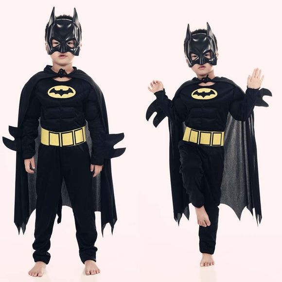 Muscle Batman Costumes,Superman Batman Movie Classic costume halloween for KIds Boys Justice league infantile superhero Clothes - 88digital