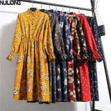 Women Casual Dress Elastic Waist Stand Neck Printed Floral Corduroy  Dress vestido - 88digital