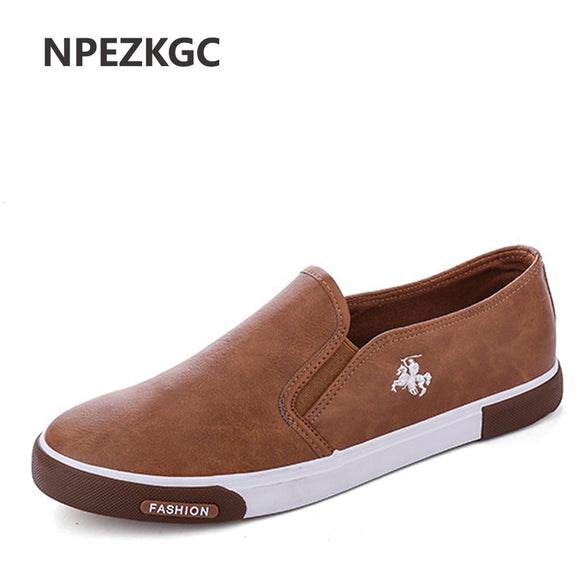 Mens Breathable High Quality Casual Shoes PU Leather Casual Shoes Slip On men Fashion Flats Loafer - 88digital