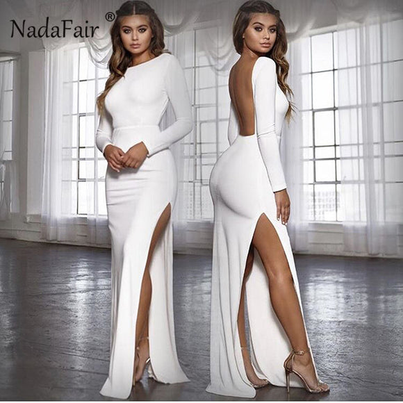 Nadafair Backless Sexy Party Dress Vestidos Long Sleeve High Side Split Bodycon Maxi Dress Women White Black Elegant Long Dress - 88digital