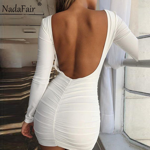 Nadafair Backless Wrap Bodycon Low Cut Sexy Club Dress Women White Black Long Sleeve Mini Party Dress - 88digital