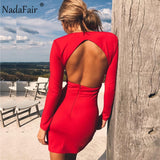 Deep V Neck Backless Skinny Sexy Bodycon Dresses Women Long Sleeve Mini Party Club Autumn Winter Dresses Red Black - 88digital