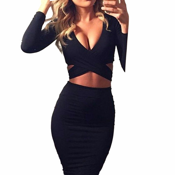 Midi Pencil Club Bodycon Dress Women Autumn Winter Long Sleeve Red Black White Party Dress - 88digital