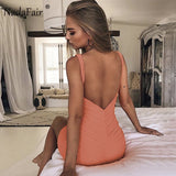 Nadafair Sleeveless Backless Sexy Bodycon Club Party Dress Women V Neck Red Black White Orange Ruched Mini Casual Summer Dress - 88digital