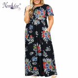Women round neck Long Sleeve Long Summer Casual Dress Plus Size Big Vintage Maxi Dress With Pockets - 88digital