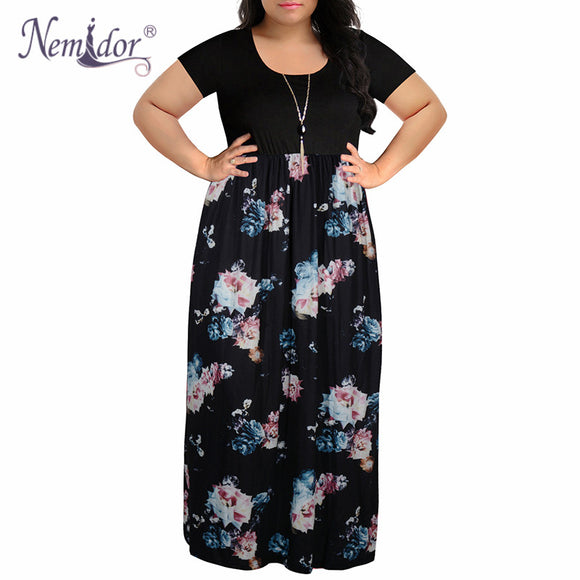 Nemidor 2019 Women O-neck Short Sleeve Patchwork Casual Dress Plus Size 7XL 8XL 9XL Vintage Chevron Print Loose Long Maxi Dress - 88digital