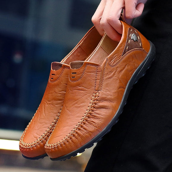 Casual Men Shoes Slip On Loafers Spring and Autumn Mens Moccasins Genuine Leather Men's Flats Shoes Big Size - 88digital