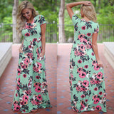 New 2019 Summer Autumn Women Clothing Robe Dresses Short Sleeve Floral Print Large Size Long Dress Plus Size 2XL 3XL Vestidos - 88digital