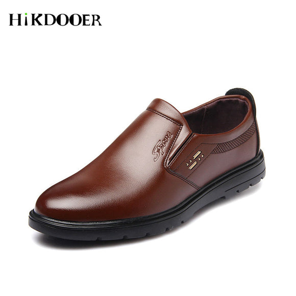 Men Slip On Leather Shoes Solid Color Business Flat Loafer Shoes Top Quality Men Formal Shoes - 88digital