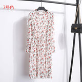 New Fashion Spring Autumn Chiffon Dresses Women's Print Dress Casual floral Dress With Belt Long Sleeve Thick Dress 19 Colors - 88digital