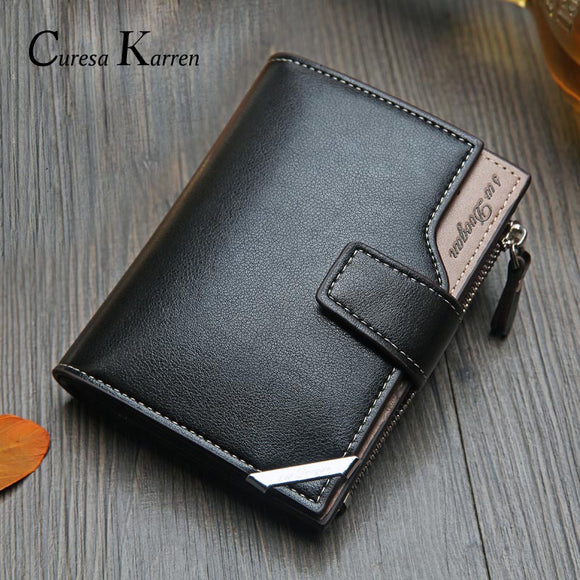 Korean casual men's wallet Short vertical locomotive British casual multi-function card bag zipper buckle triangle folding - 88digital
