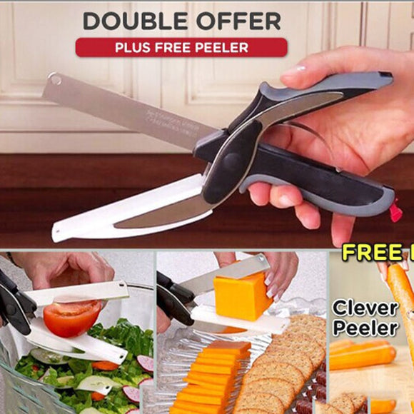 Multi-Function Smart Clever Cutter Scissor 2 in 1 Cutting Board Utility Cutter Stainless Steel Ourdoor Smart Vegetable Knife - 88digital