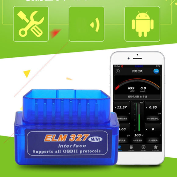 OBD V2.1 mini ELM327 OBD2 Bluetooth Auto Scanner OBDII 2 Car ELM 327 Tester Diagnostic Tool for Android Windows Symbian - 88digital