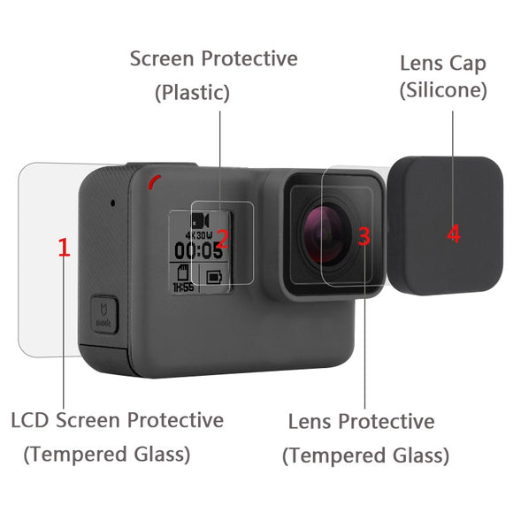 Tempered Glass Protector Cover Case For Go Pro Gopro Hero 5 6 7 Hero5 Hero6 Hero7 Camera Lens Cap LCD Screen Protective Film - 88digital